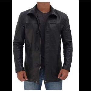 ☃️ Real leather black jacket coat new